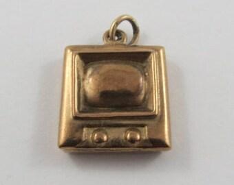 Television 9K Gold Vintage Charm For Bracelet