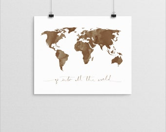 Great Commission World Map       watercolor bible verse christian missions quote