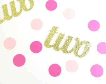 Two Confetti, 2nd Birthday Decor, 2nd Birthday Party, Pink and Gold Party, Pink and Gold Confetti, 2 confetti, Custom Confetti, One Confetti