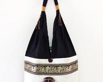 Elephant Boho Shoulder Bag Tote Hippie Style Balck & White Handmade