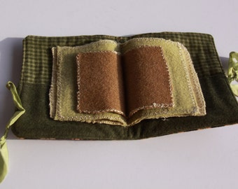 Primative Large Needlebook Wool Needlebook Brown with  Green interior Silk Ribbon