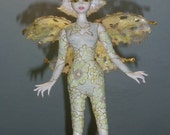 "OOAK Art Doll "" Flower Fairy"", of porcelaine clay, unique doll, Author Interior Doll, Fairy mobile, handmade doll"