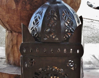 LG Punched Tin Candle Lantern - Mexican Folk Art  Luminaria, Mexican Lantern - Punched Tin Lantern