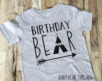 Birthday Bear - Baby Bodysuit - Kid Shirt - First Birthday - Tribal Arrow