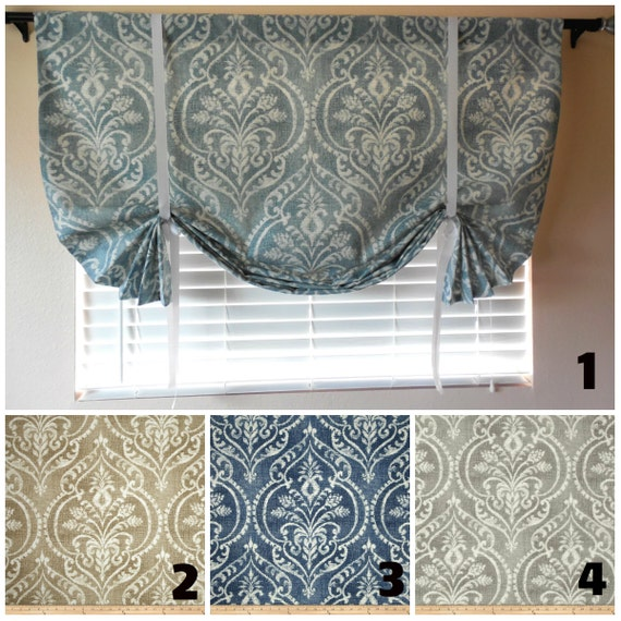 Window curtain roll up shade tie up curtains roll up shade for How to make roll up curtains