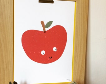 Apple of my Eye Print, Apple Digital Art Print, Cute Red Apple Print, Kids Room Decor, Nursery Wall Art, Apple Illustration,