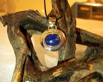 Lapis Lazuli & Sterling Silver Pendant - #36