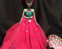 Ooak horror doll, Day of the dead little mermaid doll, art doll, haunted doll, scary doll, creepy dolls, zombie doll, ooak mermaid doll,