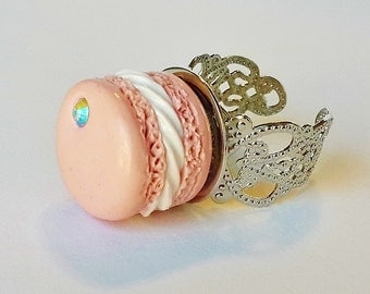 French Pink Macaron Ring - Polymer Clay Food - Miniature Food Jewelry -  French Macaroon Ring - French Pastry Jewelry - Pastel Macaron
