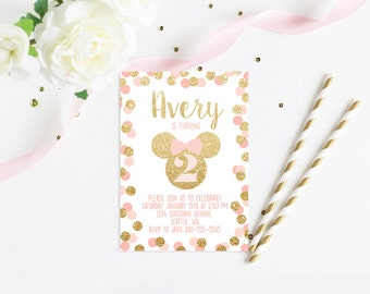 Minnie Mouse Birthday Party Invitation Pink and Gold Classy Minnie Invite Digital Printable Invitation