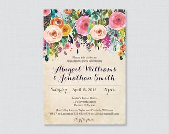 Floral Engagement Party Invitation Printable or Printed - Shabby Chic Engagement Party Invitations, Colorful Flower Garden Party 0002-A
