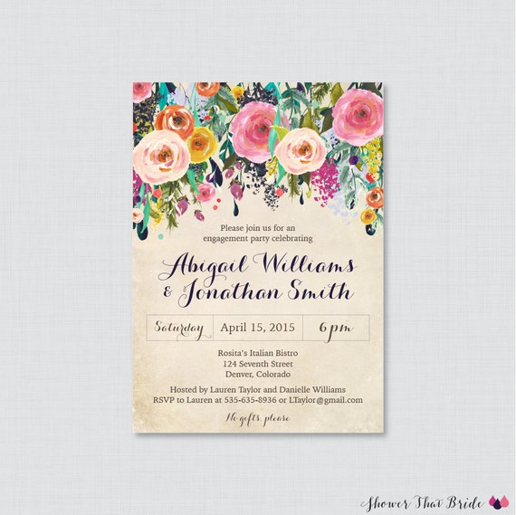 Floral Engagement Party Invitation Printable or Printed – Flower Party Invitations