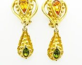 Christian Lacroix Vintage Heart Baroque Gilt Coloured Stones Clip On Dangle Drop  Earrings Signed Authentic