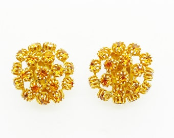 Mitchel Maer for Christian Dior Vintage Round Crystal Citrine Earrings Clip on Signed Authentic 1950s