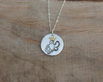 Kissing Frog fine silver pendant - 22K gold