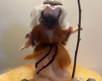 Needle felted Shepherd, Waldorf inspired, Needle felted Nativity, Christmas, Nativity set, Good shepherd, Standing doll