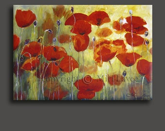 Oil Painting, Painting Original Flower Wall Art, Large Wall Art, Red Poppies Wall Art, Colorful Painting, Poppy Painting