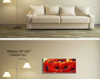 Wall Art Canvas Flower Painting, Flower Art Decor, Red Painting Floral Painting, Kitchen Painting & Living Room Painting , Painting Flowers