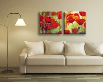 Large Art Canvas, Modern Abstract Art, Modern Wall Decor, Abstract Art Canvas, Abstract Poppy Art, Abstract Poppies, Large Canvas Art