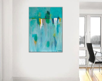 "Original Painting minimalist art, ABSTRACT PAINTING, wall art, blue, aqua, green, white modern contemporary by Sarina Diakos, titled ""Tacet"""