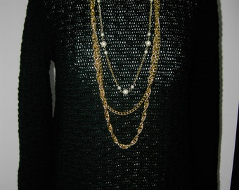 Crocheted Black Sweater / 100% Merino Wool / Made to order