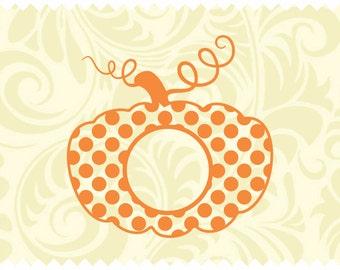 Polka Dot Monogram Pumpkin - svg - ai -dxf -cdr -eps -jpeg -png -pdf -wmf -docx -Iron on Transfer  -Cricut - Vinyl Cutting - Laser Engraving