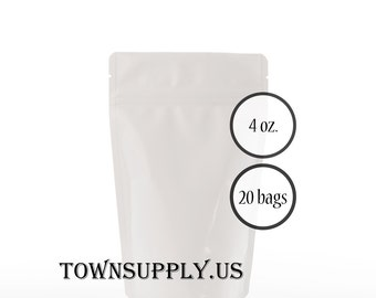 20 - 4 oz matte white stand up pouches, foil lined storage bags, food grade product packaging, resealable ziplock, wedding party favors
