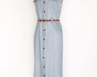 Vintage 90s Denim Dress / Rafaella / Size 8