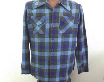 "Vintage 50's Men's Flannel Shirt Blue Green Plaid Wool Blend L 44"""