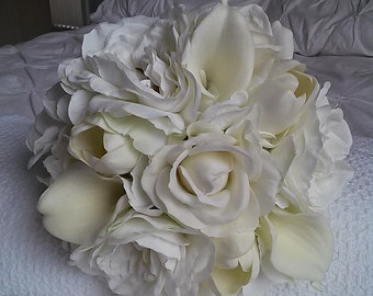 White Bridal Bouquet with Boutonniere-Real Touch Rose Bridal Bouquet-White Calla Lily and Rose Bouquet-White Wedding Flowers