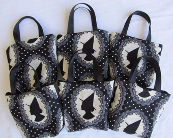 Set of 6 Halloween Fabric Gift Bags/ Party Favor Bags/ Halloween Goody Bags- Witches