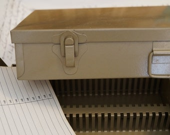 Tan Logan Metal 2 x 2 Slide Storage Box // Workshop Art Photograph Storage// Vintage Slide File Boxes // Industrial Age Quality