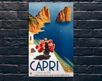 Capri Travel Poster, Italy Travel Poster, Travel Print, Tourism Wall Art, Vintage Travel Poster