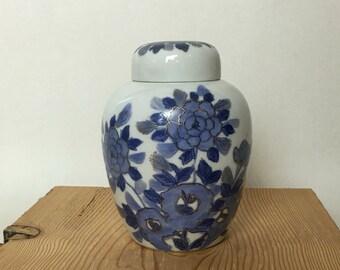 Japanese Porcelain Ceramic Blue Urn with Lid - Floral Design Vase - Ginger Jar