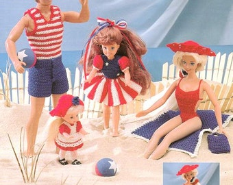 7 Outfits! Fashion Doll Star Spangled Summer Fun, Crocheted patriotic beach costume patterns, fits Barbie and Ken. Annie Potter Presents.