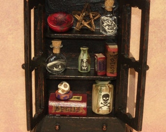 Halloween Dollhouse Witch Bookcase Witch Hutch with Accessories