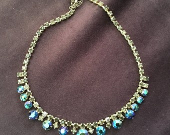 Vintage AB Blue/Green/Purple Rhinestone Necklace with Grey Rhinestone Chain 0689