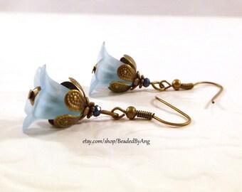 Blue Earrings, Blue Flower Earrings, Blue Dangle Earrings, Blue Drop Earrings, Flower Dangle Earrings, Blue Acrylic Earrings,Bronze Earrings