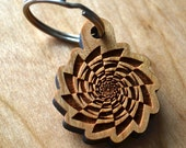 Fibonacci Spiral Vortex Keychain - Precision Laser Cut Sacred Geometry Quality Hand Finished Natural Wood LT30012
