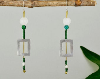 Open rectangle earring, sterling silver drop, green bead earring, long drops, chrysocolla earring, pearl drop, geometric jewelry.