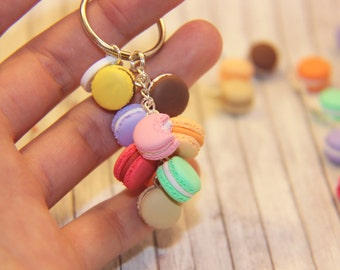 French Delight Keychain with Sweet Colorful Macarons