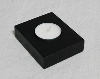 Ebonized walnut candle holder