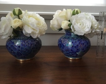 Set of 2 Mini White Rose and Ranunculus Faux Silk Flower Arrangements in Cobalt Blue Vintage Chinese Cloisonné Vases