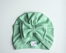 Soft Mint  Baby Jersey  Bow Turban Hat