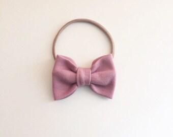 Dusky Pink Classic Hair Bow