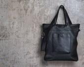 Black leather bag  / Leather Shoulder bag Travel bag /Crosbody bag /Gift for Him