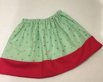 Girls Metallic Hearts Twirly Skirt
