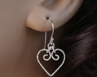 Heart Earrings, Sterling Silver Heart Earrings, Heart Dangle Earrings, Silver Dangle Earrings, Silver Wire Earrings, Silver Heart Earrings