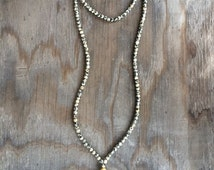 Long Beaded Tassel Double Wrap Choker Necklace with Dalmatian Jasper Beads and Gold Bead