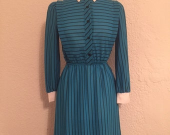 Vintage Blue Striped Collared Dress